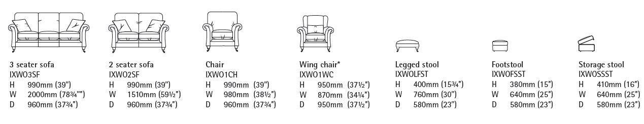 Ixworth sofa range specification